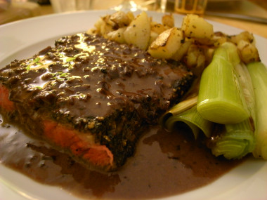Steak in brandy sauce
